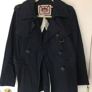 Juicy Couture Navy Belted Trench Coat